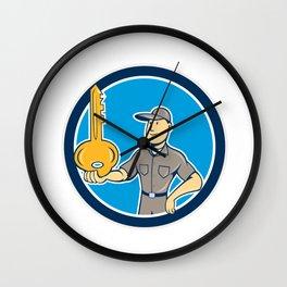 Locksmith Balancing Key Palm Circle Cartoon Wall Clock