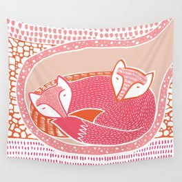 Sleepy Happy Foxes Wall Tapestry