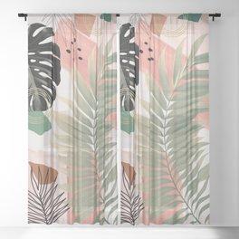 Palm Leaf Summer Glam #1 #tropical #decor #art #society6 Sheer Curtain