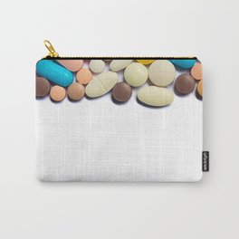 Numerous colorful pills on white background. Carry-All Pouch