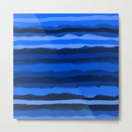 Hazy Blue Stripes Metal Print