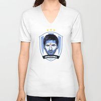 messi V-neck T-shirts featuring Messi by Rudi Gundersen