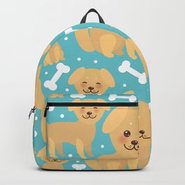 pattern funny golden beige dog and white bones, Kawaii face with large eyes and pink cheeks Backpack