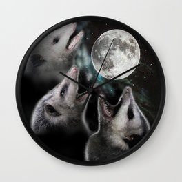 3 opossum moon Wall Clock