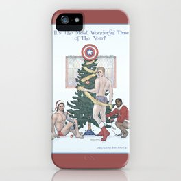 Team Cap Naughty Pinup Holiday Card iPhone Case