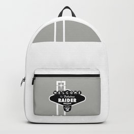 LAS VEGAS RAIDERS SIGN WHITE STAND WITH GREY BACKGROUND Backpack