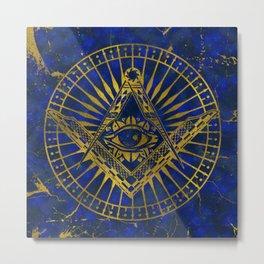 All Seeing Mystic Eye in Masonic Compass on Lapis Lazuli Metal Print