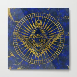 All Seeing Mystic Eye in Masonic Compass on Lapis Lazuli Metal Print