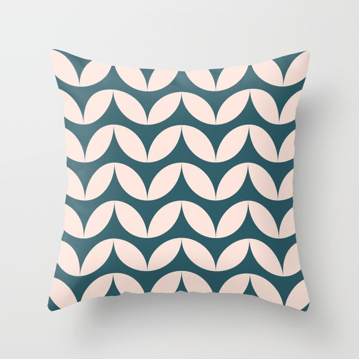 Geometric Leaf Shapes in Teal and Blush Throw Pillow