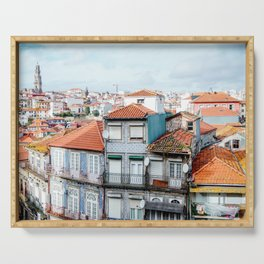Traditional houses of Porto, with Clérigos Tower far in the distance. Serving Tray