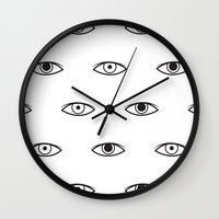 david bowie Wall Clocks featuring Eyes - David Bowie by Mariootsa