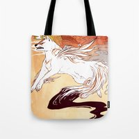 okami Tote Bags featuring Okami by Weissidian