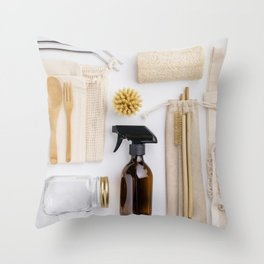 zero waste cleaning and beauty products Throw Pillow