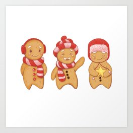 Gingerbread men trio Art Print