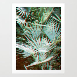 Glitch art / retro 3D style photography | Green, Turquoise, Cyan and pink tropical leaves Art Print