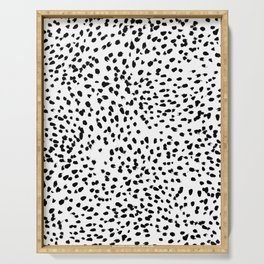 Nadia - Black and White, Animal Print, Dalmatian Spot, Spots, Dots, BW Serving Tray