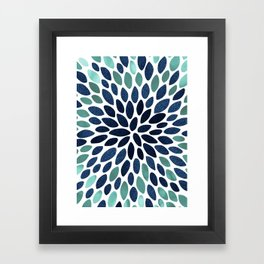 Flower Bloom, Aqua and Navy Framed Art Print