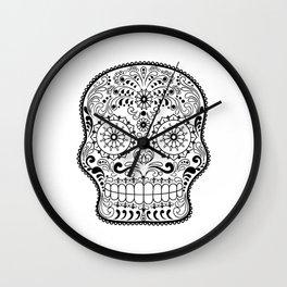 Black and White Sugar Skull Wall Clock