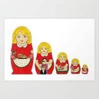 50s Art Prints featuring 50s Housewife Russian Doll by Yana Elkassova