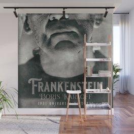 Frankenstein, vintage movie poster, Boris Karloff, horror film, Mary Shelley book cover Wall Mural