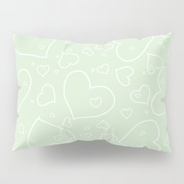 Palest Green and White Hand Drawn Hearts Pattern Pillow Sham