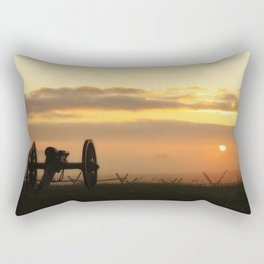 Sunrise on a foggy Battlefield Rectangular Pillow