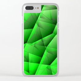 Abstract pattern of green and glowing plates of triangles and irregularly shaped lines. Clear iPhone Case