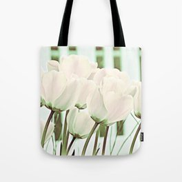 Delicate Beauty of White Tulips Art Tote Bag