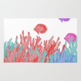 Modern nautical coral teal floral reef colorful fish Rug
