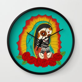 Virgin de Guadalupe Sugar Skull Wall Clock