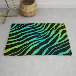 Ripped SpaceTime Stripes - Lime/Cyan Rug