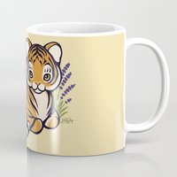 platypus Mugs featuring Loafing Tiger, Hidden Platypus by Spoopy Surprise