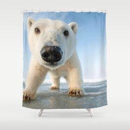 Super Cute Adolescent Polar Pear Checking Out Camera Close Up Ultra HD Shower Curtain
