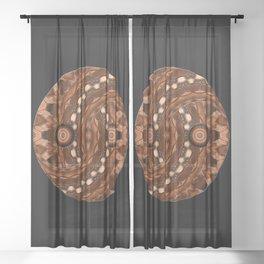 Brown Yin a Yang mandala Sheer Curtain