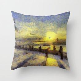 Bosphorus Sunset Van Gogh Throw Pillow