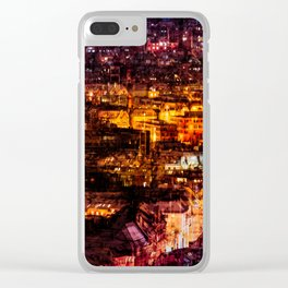 Glowing Night Cityscape Clear iPhone Case