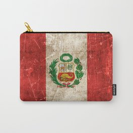 Vintage Aged and Scratched Peruvian Flag Carry-All Pouch