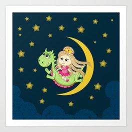 Pretty Princess and Mr Dragon Art Print