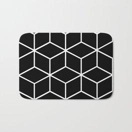 Black and White - Geometric Cube Design II Bath Mat