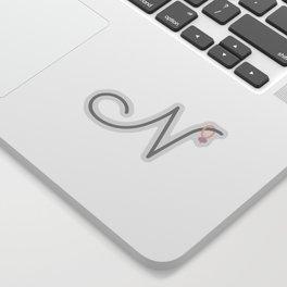 N Initial with Stitch Marker Sticker