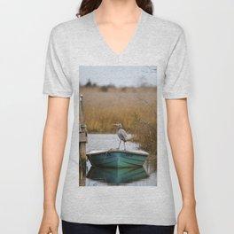 Great Blue Heron on Fishing Boat Unisex V-Neck