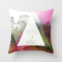 Travel the world Indonesia photography smokey mountain and typography print Throw Pillow