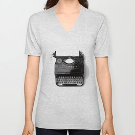 Typewriter (Black and White) Unisex V-Neck