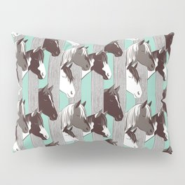 Waiting for the horse race // mint background Pillow Sham