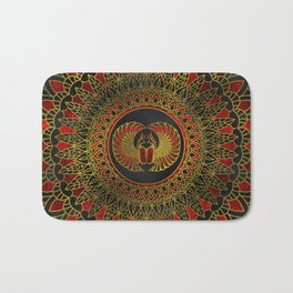 Egyptian Scarab Beetle - Gold and red  metallic Bath Mat