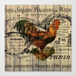 vintage typography barn wood shabby french country poulet chicken rooster Canvas Print