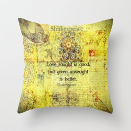 Shakespeare romantic love quote Throw Pillow