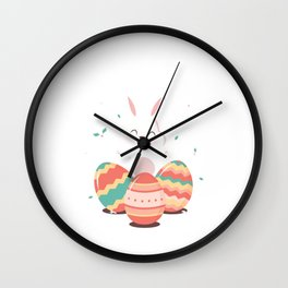Egg Hunt Is On Cute Easter Bunny Holiday Gift Wall Clock