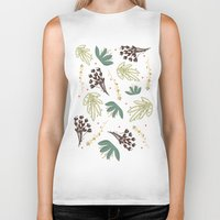 leaf Biker Tanks featuring leaf by Ceren Aksu Dikenci
