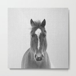 Horse II - Black & White Metal Print
